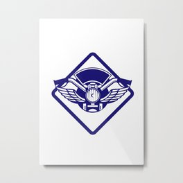 Motorbike Handlebar Headlamp Wings Diamond Retro Metal Print