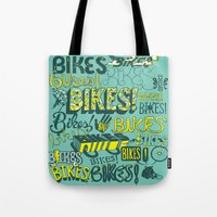bikes Tote Bags featuring Bikes! by Matthew Fleming