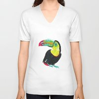 toucan V-neck T-shirts featuring Toucan by Félin & Flora