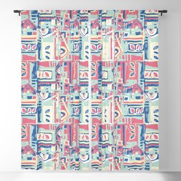 Abstract Builder Blocks pastels pink,blue,yellow Blackout Curtain