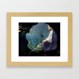 Jesus Christ On Mount Olive With White Rose By Annie Zeno Framed Art Print