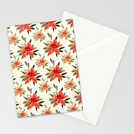 Vintage orange green bohemian flowers pattern Stationery Cards