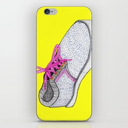 Skate Shoes in Pink Ink on Yellow iPhone Skin