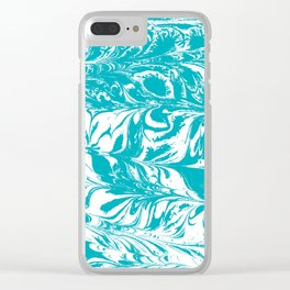 Mio - spilled ink turquoise watercolor marble marbled pattern japanese painting Clear iPhone Case