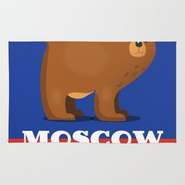 Moscow Bear and flag travel poster. Rug