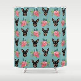 Min Pin miniature doberman pinscher dog breed dog faces cute floral dog pattern Shower Curtain