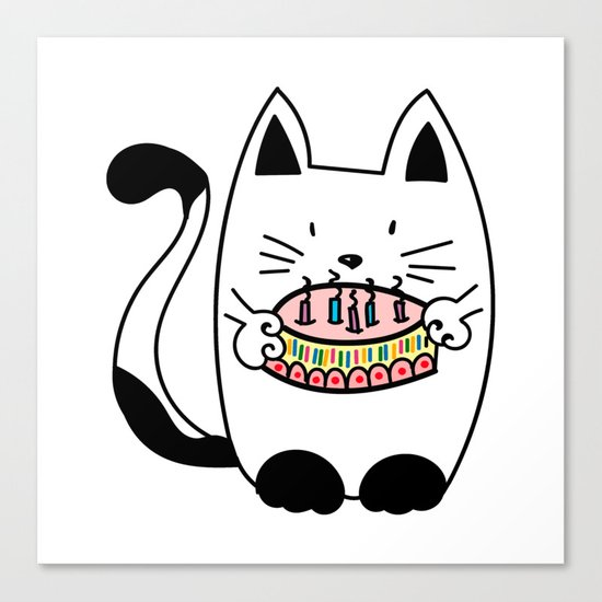Happy Birthday Cat With Cake Canvas Print By