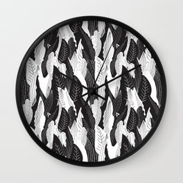 Floating Leaf in Black and White Wall Clock
