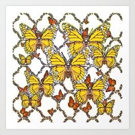 ABSTRACT LACEY PATTERN MONARCH BUTTERFLIES DESIGN Art Print
