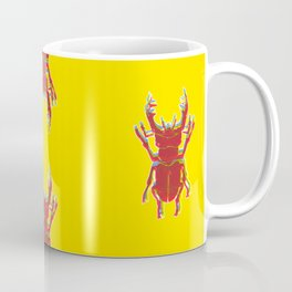 Stag Beetle Tricolore lino cut on yellow background Coffee Mug