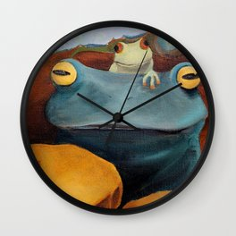 Here kitty, kitty... (frogs) Wall Clock
