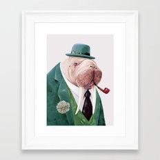 Walrus Green Framed Art Print