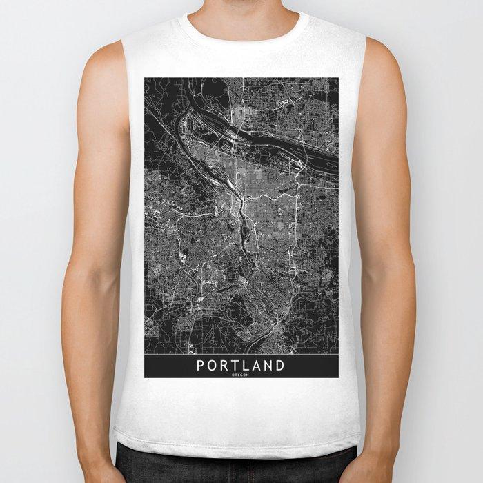 Portland Black Map Biker Tank