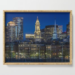 BOSTON Evening Skyline of North End & Financial District Serving Tray