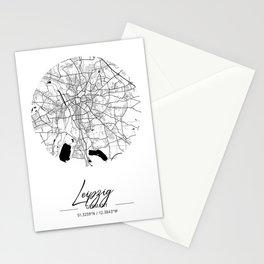 Leipzig Area City Map, Leipzig Circle City Maps Print, Leipzig Black Water City Maps Stationery Cards