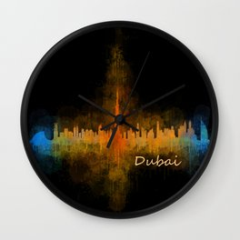 Dubai, emirates, City Cityscape Skyline watercolor art v4 Wall Clock