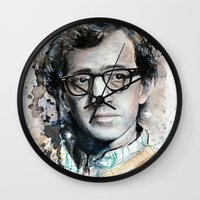 woody allen Wall Clocks featuring Woody Allen by Denise Esposito