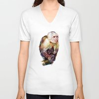 monkey V-neck T-shirts featuring Monkey by beart24