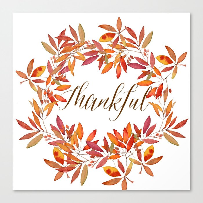 Thankful wreath  Canvas Print