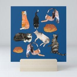 cats cats cats on blue Mini Art Print