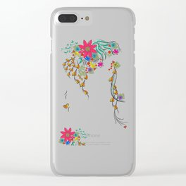 Vibrant Floral to Floral Clear iPhone Case