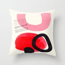 Vintage Abstract Mid Century Modern Playful Pink Red Candy Colors Organic Shapes Throw Pillow