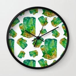 Emerald Birthstone Watercolor Illustration Wall Clock