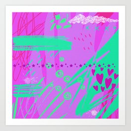 Mixed Media Abstract Art: Vibrant Pink & Green Art Print