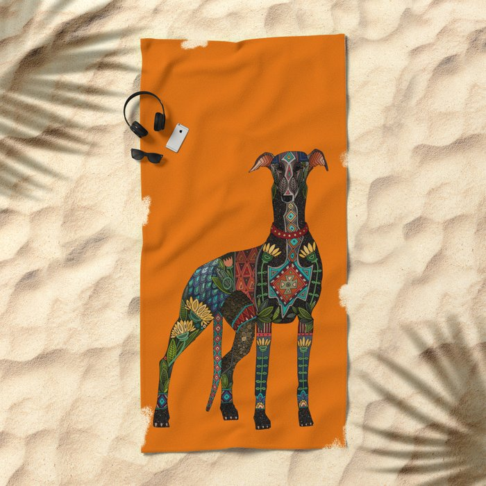 greyhound orange Beach Towel