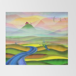 Fantasy valley naive artwork Throw Blanket