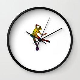 Figure Skiting watercolor Spiral art colorful dancer female Wall Clock