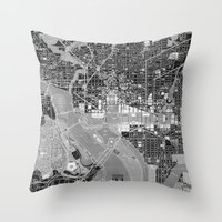 washington dc Throw Pillows featuring Washington DC Street Map by Color and Form