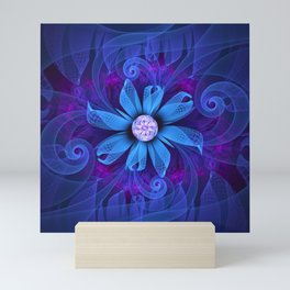 A Snowy Edelweiss Blooming as a Blue Origami Orchid Mini Art Print