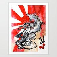 okami Art Prints featuring OKAMI by Rubis Firenos