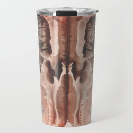 brown Rorschach test, watercolor, monotype, abstract symmetric painting Travel Mug