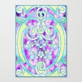 Art Nouveau Aqua and Purple Batik Design Canvas Print