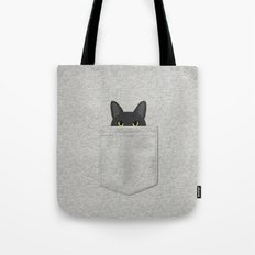 Pocket Black Cat Tote Bag