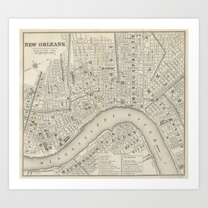 photo about Printable Map of New Orleans known as Basic Map of Refreshing Orleans LA (1866) Artwork Print by way of bravuramedia