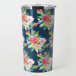 Watercolor Floral Bundles on Blue Travel Mug