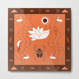 Egyptian Design - Coral Maroon Metal Print