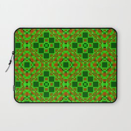 EVERGREEN abstract holiday quilt pattern red and shades of green Laptop Sleeve
