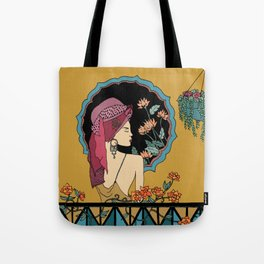 Balcony Girl Tote Bag