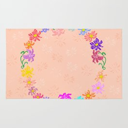 Wreath from abstract flowers with background Rug