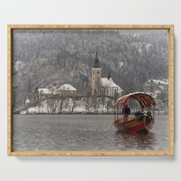 Red Pletna Boat At Lake Bled Serving Tray