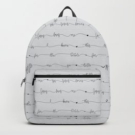 Jesus Loves Me - grey handwritten lyrics Backpack