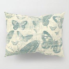 teal, vintage, butterflies, parchment Pillow Sham