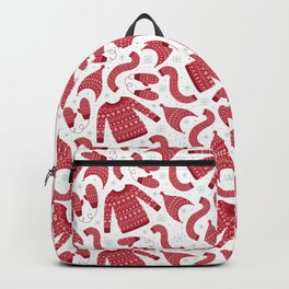 Red white snow flakes Christmas winter fashion pattern Backpack
