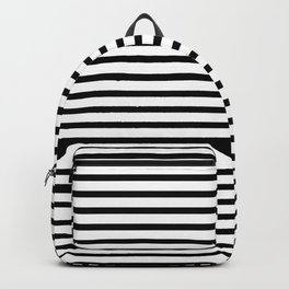 White Black Stripe Minimalist Backpack