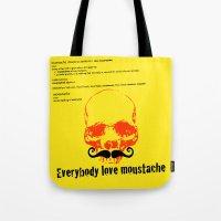 moustache Tote Bags featuring Moustache by morganPASLIER