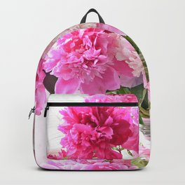Cottage Peonies Bouquet Garden Shabby Chic Flowers In Jars Backpack